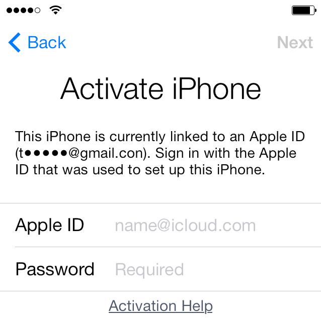 iOS 7 Aktyvacijos užraktas
